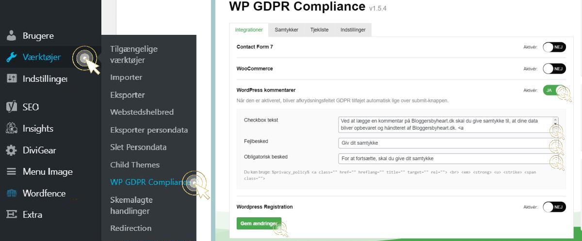 GDPR i kommentarer wordpress