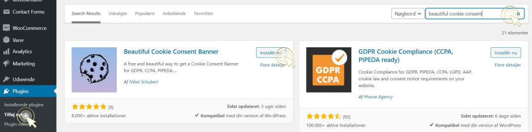 Kontrolpanel af wordpress, hvor vi finder pluginnet beautiful cookie consent banner